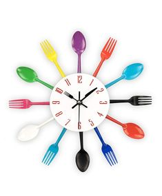 Cutlery Design Wall Clock Metal Colorful Knife Fork Spoon Kitchen Clocks Creative Modern Home Decor Antique Style Wall Watch *** You can find more details by visiting the image link. Kitchen Spoon, Kitchen Wall Clocks, Kitchen Cutlery, Kitchen Walls, 3d Sticker, Colorful Kitchen Decor, Colorful Kitchens, Wall Watch, Wall Stickers Room