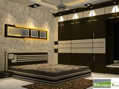 Elegant stylish bedroom that features bespoke furniture. Modern Bedroom Design with classic wallpaper on bed back wall looks absolutely sophisticated and stylish. Bedroom Furniture Design, Luxury Bedroom Design, Bedroom Cupboard Designs, Bed Furniture Design, Bedroom Closet Design, Wardrobe Design Bedroom, Luxurious Bedrooms, Modern Bedroom, Furniture Design