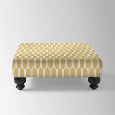 Essex Upholstered Ottoman, Ikat Gray/Flax