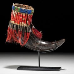 Sioux Beaded and Quilled Buffalo Horn Cup