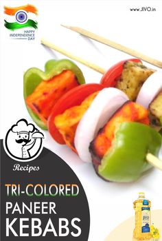 #RecipeOfTheDay Tri-Colored Paneer Kebabs Recipe Ingredients: Yellow Colored Paneer Kebabs 8-10 paneer pieces (cut into a 2″ squares) 4-5 tbsps hung curds 1 tsp black pepper pwd (you can use a pinch of garam masala pwd also for added flavaor) 1 tsp amchur pwd or lemon juice big pinch turmeric pwd –(give yellow color to the paneer) salt to taste Marinate the paneer pieces in the above marinade for 2 hours in the refrigerator. Red Colored Paneer Kebabs