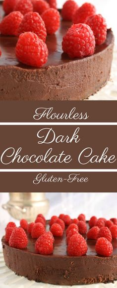 This rich, Dark Chocolate Flourless Cake with Fresh Raspberries is also gluten free!