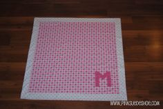 How to sew mitered corner baby blanket with monogramed letter.