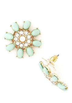 Meant to Sparkle Earrings in Mint, #ModCloth