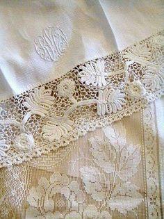 Lace Ribbon, Lace Fabric, Antique Lace, Vintage Lace, Vintage Monogram, Irish Crochet, Crochet Lace, Linens And Lace, White Linens