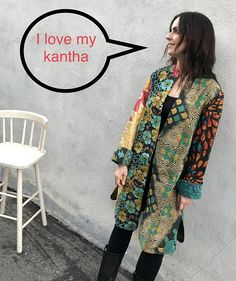 This is a new style. The body is the same as my long silk kantha duster but this is made from different cotton kantha quilts patched together. It is reversible and it's knee length with slits on the side and one button closure. The size will fit from a size 6 to a size 12. It is much smaller Kantha Quilt, Quilts, Refashion, Size 12, Patches, Kimono Top, Layers, Closure, Silk
