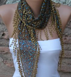 Multicolor Cotton Scarf  Headband Necklace Cowl by fatwoman, $13.50
