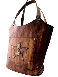Handmade leather tote bag cat and star pattern ** Want additional info? Click on the image.-It is an affiliate link to Amazon.
