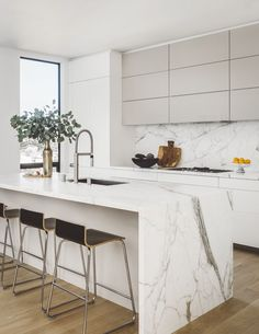 Kitchen Interior Design Remodeling Noe Valley Modern, Kitchen, San Francisco, CA - 10 Jaw-Dropping Interiors by Jean-Louis Deniot Kitchen Room Design, Modern Kitchen Design, Home Decor Kitchen, Interior Design Kitchen, Home Design, Home Kitchens, Kitchen Ideas, Modern White Kitchens, White Contemporary Kitchen