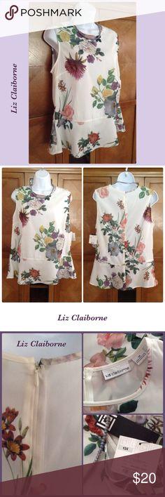 Floral Blouse Liz Claiborne floral peplum blouse. NWT. Liz Claiborne Tops Blouses