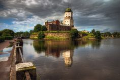 Photograph Выборг by Ed Gordeev on Water Island, Viborg, Medieval Fortress, Desktop Pictures, Colorful Wallpaper, Free Pictures, Big Ben, Tower, Mansions