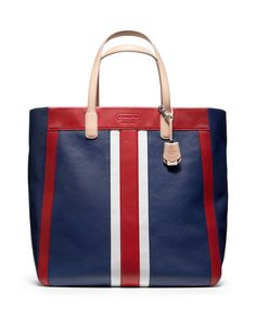 COACH Legacy Weekend Beach Leather Stripe Large North/South Tote | Bloomingdale's