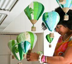 Fabric Hot Air Balloons on display at Craft Victoria
