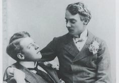 Oscar Wilde and his lover Lord Alfred 'Bosie' Douglas
