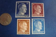 4 hitler Stamps That Survived World War II. These are Real Hitler Deutsches Reich Third Reich Nazi Stamps (1941-1944). Unused, in Extremely Good Condition, with Glue.**** Disclaimer - I do not support Nazi Ideology, I only offer this for its historic and collector value