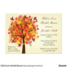 These invitations are so cute for a Fall bridal shower. I love the autumn colors. Fall In Love Bridal Shower Personalized Invite Fall Wedding Invitations, Wedding Invitation Design, Bridal Shower Invitations, Custom Invitations, Wedding Programs, Invites, Modern Invitations, Wedding Venues, Invitations Online