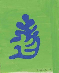 Henri Matisse (French, 1869-1954), Petite arabesque bleue sur fond vert, 1951. Gouache and collage on paper, 24 x 19.5 cm.