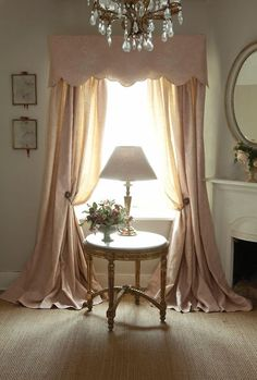 Blush pink drapery with scalloped valance and beautifully sweeping side panels. Available in many fabrics DesignNashville