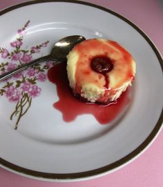 Sour Cherry Crustless Cheescake Cupcakes with Sour Cherry Glaze
