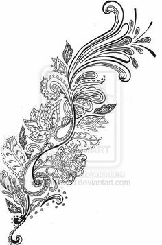 Idea for pattern extension of phoenix - I really like the henna paisley/mango leaf style patterns, and with my Asian heritage, I'd like to try & incorporate it somehow