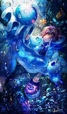 Under the Sea Pokemon Fusion, Pokemon Manga, Pokemon Comics, Pokemon Fan Art, My Pokemon, Pokemon Cards, Pokemon Images, Pokemon Pictures, Lagann Gurren