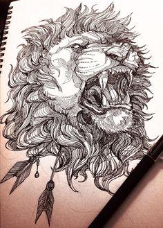 #art #arte #drawing #desenho #pen #caneta #lion #leao