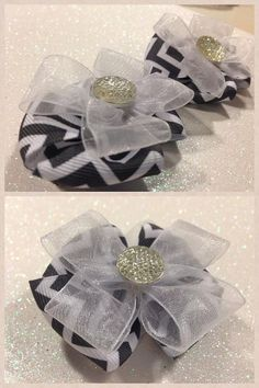 Grey Chevron Hairbow-Chevron hair bowpick one or do a custom order by HelloKourtneyBows, $5.00