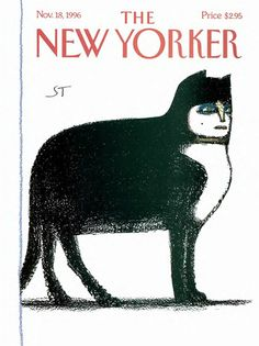 ¤ Saul Steinberg – New Yorker cover.1996 november 16th big black and white cat