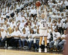 Blair Schaefer hits a three during the MSU vs South Carolina game, Feb. 5. The Lady Bulldogs won to improve to 24-0.