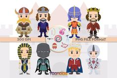 Amazing Unique Fantasy Characters, great for all your creative needs such as scrapbooking, birthday cards, art prints, social media avatars and other creative ideas. ✮ Fantasy Clipart Set 3 ✮ You will receive: Fantasy Characters, Fictional Characters, Vikings, Knight, Birthday Cards, Clip Art, Handmade Gifts, Etsy, The Vikings
