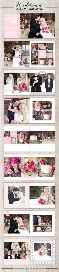 Photoshop wedding album templates! ADORABLE!