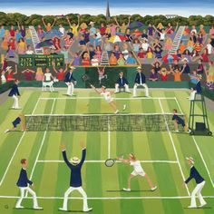 Wimbledon Tennis by Louise Braithwaite who is based in Hampshire Over the last nine years she has developed a style of painting which is vibrant and expressive yet based. Tennis Posters, Tennis Serve, Tennis Match, Tennis Party, Tennis Cake, Lawn Tennis, Wimbledon Tennis, Wimbledon 2017, Vintage Tennis