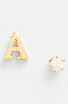 Tai Initial & Cubic Zirconia Stud Earrings available at #Nordstrom