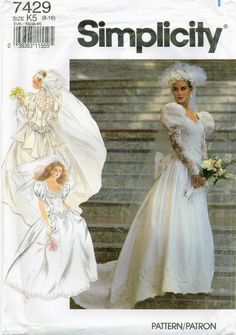Simplicity 7429 Misses Wedding Bridal gown dress veil pattern rosettes bow Sweetheart Basque UNCUT FF #SimplicityBridal #WeddingBridalgown #Weddingsewingpattern #Bridesewing