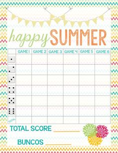 Recipes from Stephanie: Free Bunco Score Sheet