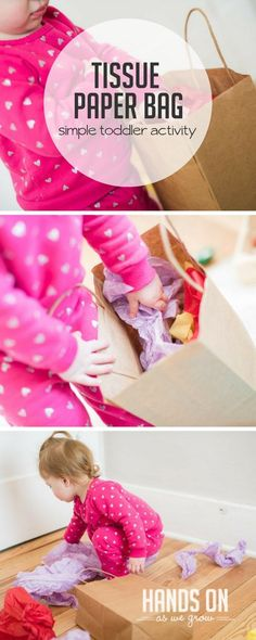 Tissue paper bag activity for toddlers and babies to grab and explore Outdoor Activities For Kids, Motor Activities, Sensory Activities, Hands On Activities, Infant Activities, Babysitting Activities, Sensory Bins, Sensory Play, Toddler Play