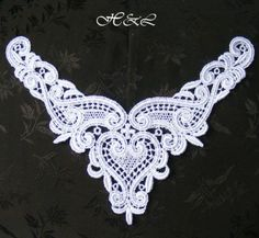 White Lace Bridal Bodice heart collar Embroidery Venise Guipure dress Motif Trim