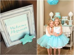 """""""As the girls arrived, they were given an aqua blue ribbon-trimmed tutu made by my mom along with a basic white tank from Old Navy to change into,"""" Kim says. """"They were 'crowned' mermaids for the day with a pearl necklace from Target and a custom tulle mermaid hair clip from Banner Boutique."""" Source: The TomKat Studio"""