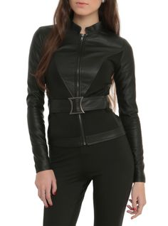 """Black faux leather jacket with attached belt. Lining with a """"My Past is My Own"""" Black Widow logo design."""