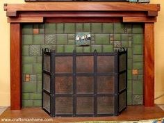 craftsman fireplaces   Green Tiled Craftsman Fireplace   House Design Elements by stacy