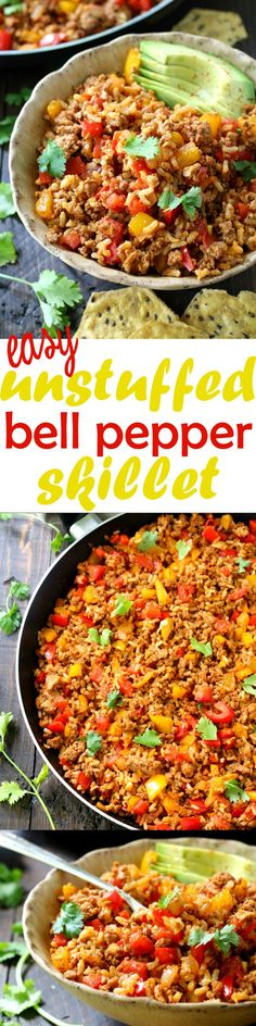 Easy Unstuffed Bell Pepper Skillet- simple, flavorful, full of protein and fiber and entirely dairy and gluten free!