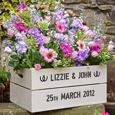 Personalised Wedding anniversary wooden gift crate