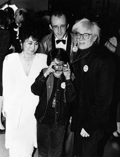 Andy Warhol with Yoko Ono Lennon, Keith Haring, & Sean Lennon. (c. 1985)  Andy was good friends with John & Yoko, adored Sean and was a close friend/mentor to Keith Haring.
