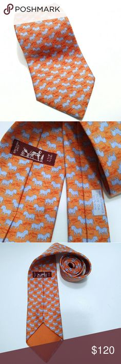 61b07ae7a6fa Shop Men's Hermes Orange Blue size OS Ties at a discounted price at  Poshmark. Description: Hermes Zebras Tie Necktie rare colors Blue Orange Silk  Made in ...