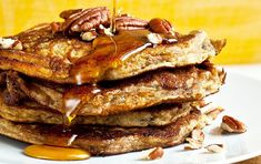 NYT Cooking: Instead of using only wheat flour in these pancakes, I've combined whole-wheat flour and almond flour. The almond flour makes for a very moist and delicate pancake. Almond flour is high in vitamin E, calcium, magnesium and copper. Whole Grain Pancakes, Pecan Pancakes, Pancakes And Waffles, Homemade Pancakes, Bacon Waffles, Almond Pancakes, Paleo Pancakes, Pecan Recipes, Cooking Recipes