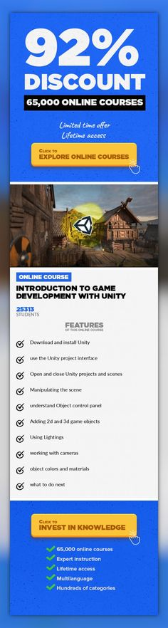 Introduction to Game Development with Unity Game Development, Development #onlinecourses #onlinecoursesideas #thingstolearning  Quick and simple video guide to get you up and running with Unity game development This course is the fastest way to get into making games. We will be using the Unity engine because it's powerful and free. We'll start learning how to download and install Unity on your com...