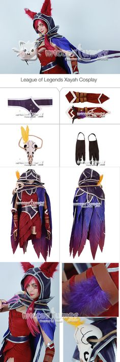 More details of League of Legends Xayah Cosplay Costume #cosplay #miccostumes #LeagueofLegends #Xayah #CosplayCostume