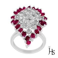 14K White Gold 2.74 CT Round Diamond G-H/SI2 Round & Marquise Ruby Cocktail Ring #WomensGemStoneRingJewelryHotspot