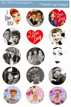 Free Bottle Cap Images: I Love Lucy free bottle cap template