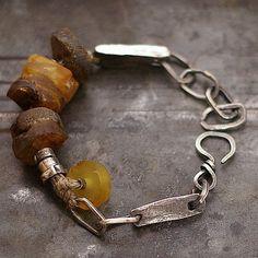 focus-damnit:(via raw amber bracelet linen sterling silver linen by ewalompe)